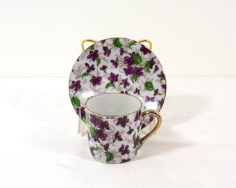 INARCO JAPAN Hand Painted Violets Demitasse Cup and Saucer