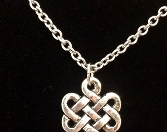 Silver-Chinese-knot-dangle chandelier-necklace