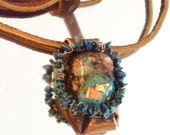 Orgonite Pendant Herkimer Diamond Raw Peruvian Opal Copper Necklace Leather Genuine Turquoise Orgone Genuine Protection Healing EmF