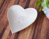 Baptism Gift - Large Personalized Heart Bowl with Heart Stamp  - With Gift Box