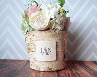 PERSONALIZED Wedding Gift - Monogrammed Round Birch Vase