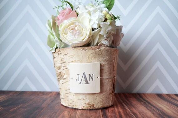 Personalised Vase Wedding Gift : PERSONALIZED Wedding GiftMonogrammed Round Birch Vase