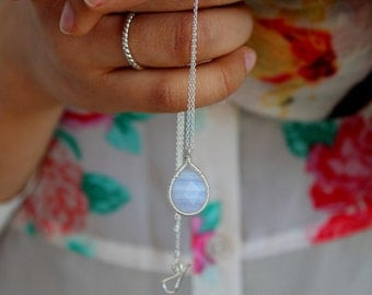 Blue Lace Agate Pendant Necklace - Hand Wire Wrapped Blue Gemstone Necklace - Something Blue -