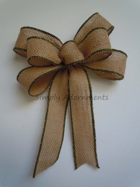 Rustic Burlap Gift Bow Green Trim Burlap Christmas Bow Rustic Burlap Chrismas Bow Ornament Burlap Bow WooldBurlap Gift Wrap Bow