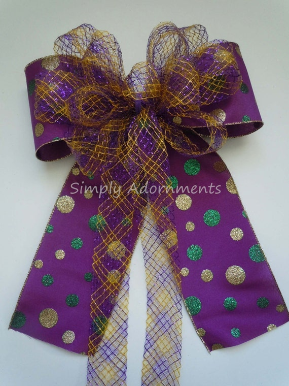 Purple Gold Green Bow Mardi Gras Swag Bow Mardi Gras Christmas Wreath Bow Wedding Pew Bow  Mardi Gras Party Decor Mardi Gras Door Hanger Bow