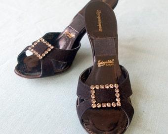 Vintage 1950s Spring-o-lators | High Heel Black Suede Mules | rhinestone buckle | by Mademoiselle | Authentic Spring-o-lators | Size 8 1/2N