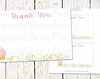 Glitter Cupcake Thank You Cards-INSTANT DOWNLOAD-Cupcake Thank you