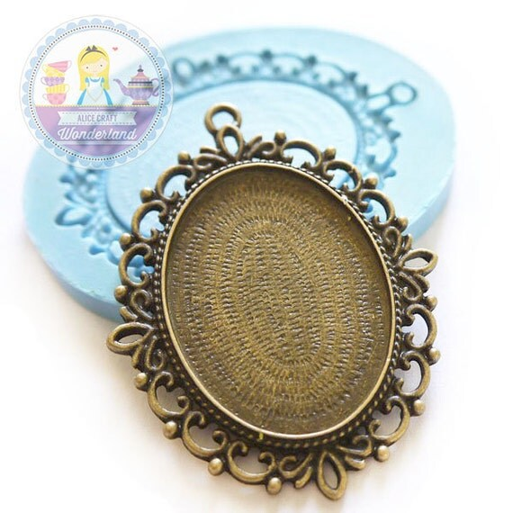 Lace Edge Cameo Setting Frame Charm Setting Area 40x30mm Bakery Flexible Mold 243L* BEST QUALITY