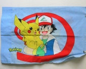 90s Pokemon Pillowcase, Vintage Nintendo Collectables, Pokemon Trainer Ash Ketchem, Pikachu, Cotton Standard Pillow Case