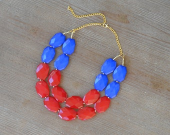 Red and Blue Statement Necklace - Ole Miss Necklace - University of Arizona Wildcats - Red and Blue Chunky Bead Necklace - Game Day