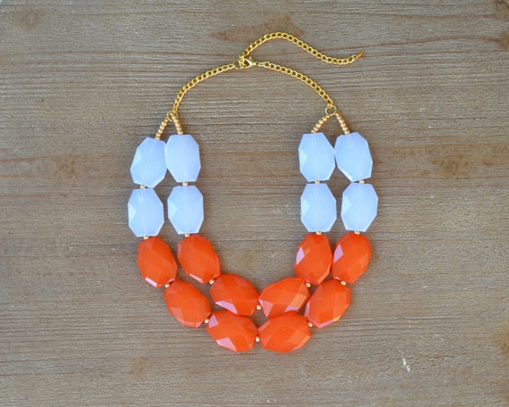 White and Orange Statement Necklace - University of Tennessee Vols Necklace - Texas Longhorn Jewely - UT Necklace - Game Day