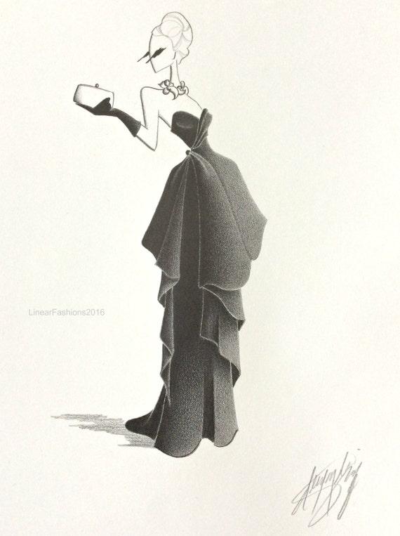 original fashion illustration 50s fashion by linearfashions