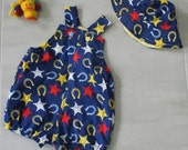 Baby boy overalls romper shortall size 1 - ages 12 months, sheriff cowboy - summer ready boys set
