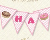 Pink Donut Banner Happy Birthday Bunting printable doughnut Instant Download pdf stripes gingham sweet bake shop shoppe party flag digital