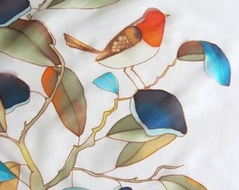 Small silk scarf hand painted Botanical bird wearble art - ready to ship