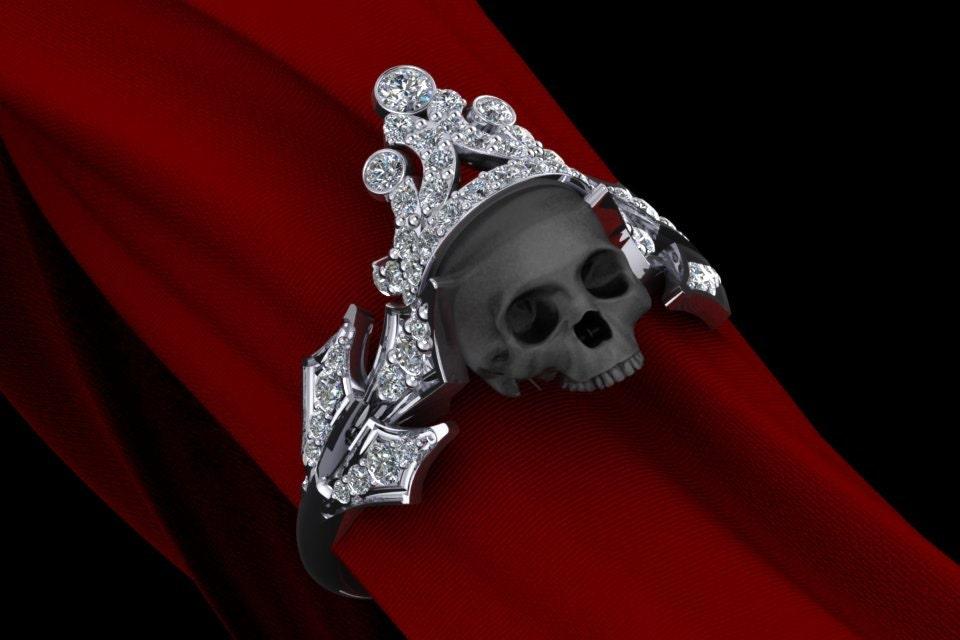 14k Gold Royal Skull Diamond Ring