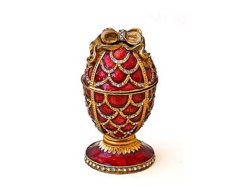 Vintage Egg Trinket Box, Faberge Style Egg, Red & Gold Enamel Decorated Egg Small Box, Collectible Eggs, Egg Art, Collectible Box