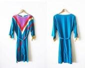 Colorblock Dress / Rainbow Dress / Silk Sundress / Slouchy 80s Dress