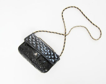 Chanel Style Quilted Purse - Black Leather Cross Body Bag - Gold Chain Straps  - 80s purse