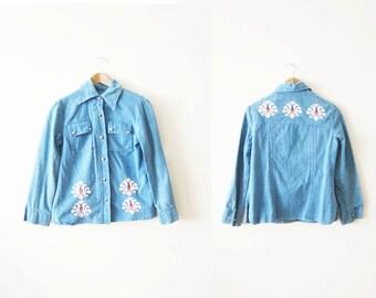 SALE Denim Shirt / Embroidered Denim Shirt / Bohemian Clothing / Western Shirt