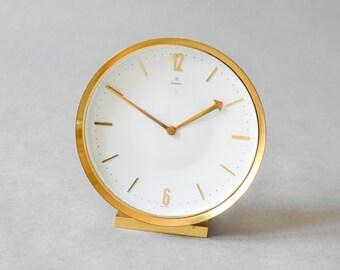 Junghans mantel clock, brass desk clock, 60s mantel clock, 60s table clock