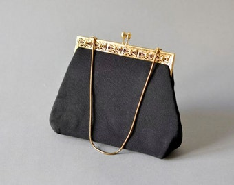 Vintage black party wedding satchel bag hand bag purse chain evening dress
