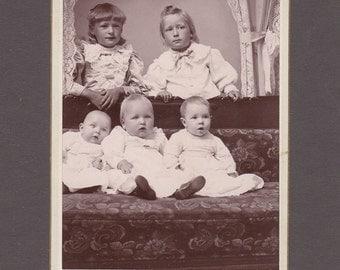 Amusing Cabinet Card of 5 Little Kids