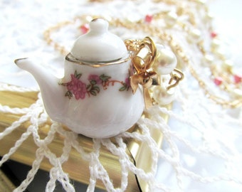 Teapot Necklace - Long Gold, White Pink Pearl Beaded Necklace - Tea Party