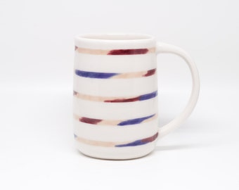 large purple peach brushstroke stripe mug