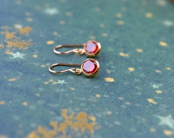 Garnet Earrings, Gold Fill Earrings, Tiny Earrings, Garnet & Gold Drop Earrings, Garnet Jewelry, Dainty Gold Earrings, Garnet Gold Earrings