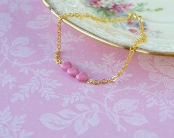 Delicate Gold Bracelet, Gold Chain Bracelet, Pink Heart Jewellery, Dainty Bracelet, Girlfriend Bracelet, Heart Bracelet, Stackable Bracelet