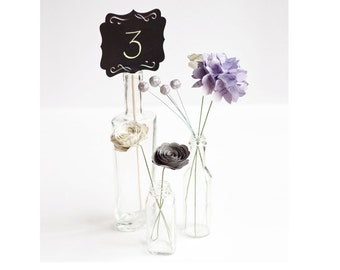 Wedding or Event Centerpiece - Set of Three Bottles with Book Page Flowers and Chalkboard Table Number - Hydrangeas, Roses and Berries
