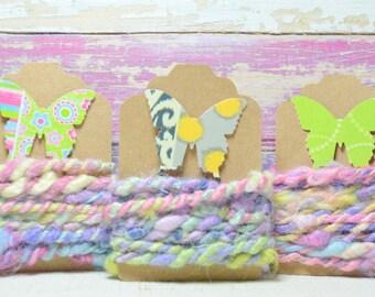 1 yd Vegan Fiber - Handspun - Flax - Cotton - Soy Silk - Handdyed- Macrame - Embroidery-Jewelry Making- Cord- Craft Supplies - GIGGLE