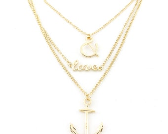 Special Gold-tone Beautiful Love&Anchor Triple Chain Necklace, A15