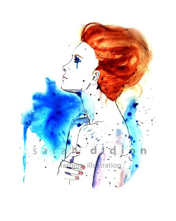 Fashion illustration glicl 233 e fine art print from original watercolor