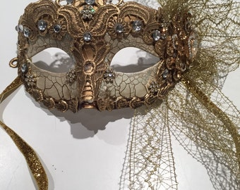 Gold Mask- Save Venice Mask- Masquarade Mask -Feather Mask- Mask NYC- NYE Mask- Masquerade Ball- Mardi Gras- Mask- Ventian Style Mask