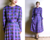 Vintage 1940s Style Purple Plaid Dress - Button Front Shirtwaist Dress - Long Sleeves Day Dress - 80s Does 40s - Victorian (medium large)