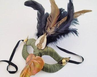 Bird of Autumn Masquerade Mask Steampunk Feather Accented  Beak Bronze Copper Green Black Pheonix Half Face Fabric Burlesque Halloween