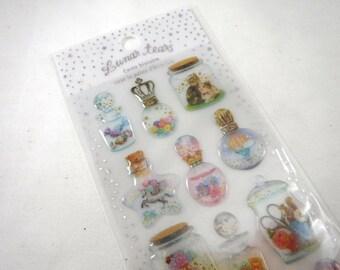 Kawaii Japan Sticker Sheet Assort Epoxy Glitter Drop Lunar Tears: BOTTLES Little World Candy Unicorn Moon Swan Key Flowers Fish Whimsy R