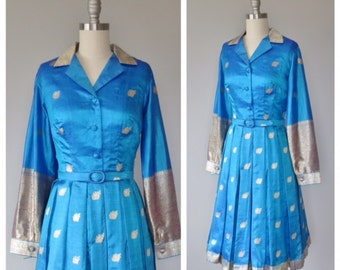 60s Indian silk dress size small - medium / vintage sari silk dress
