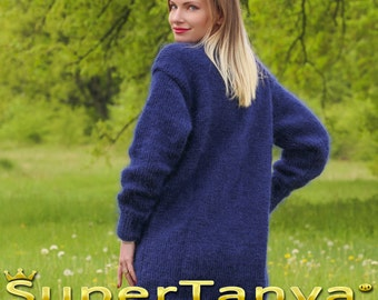 Blue cardigan handmade by SuperTanya sweaters boutique