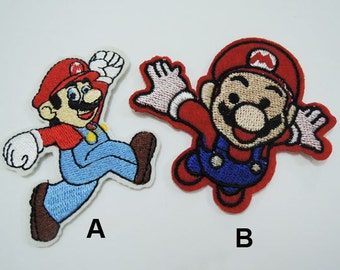 Set of 2pcs Super Mario Patches - Iron on Patch or Sew on Patch Super Mario Patch