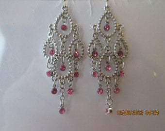 Silver Tone Chandelier Earrings with Pink Rhinestone Dangles