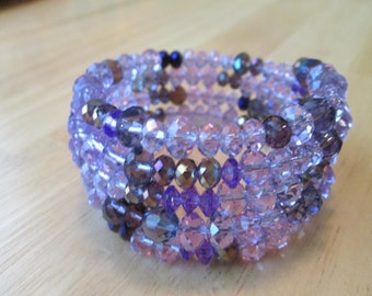 4 Row Memory Wire Cuff Bracelet with Purple Crystal Beads