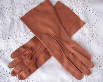 Vintage Ladies Long Brown Wear-Right Gloves.(size small to medium) Cotton Vintage Brown Gloves.Women's Dress Gloves.Women's Brown Gloves.