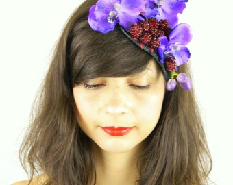 Fascinator Headpiece Feathered with Purple Blue Orchid Cascading and Raspberries - Statement Piece Cocktail Party Hat