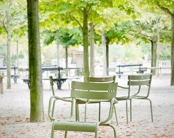 Paris photography, Luxembourg Garden photos, Mint green chair, Autumn leaves, Fall in Paris, fallen leaves, Travel photo, wanderlust,