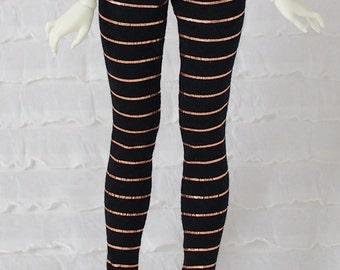Black leggings with copper details for Fairyland chic-line dolls