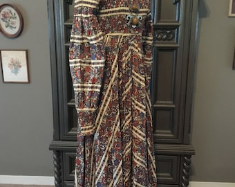70s Boho Babe Smocked Bodice Balloon Sleeve Cotton Dress