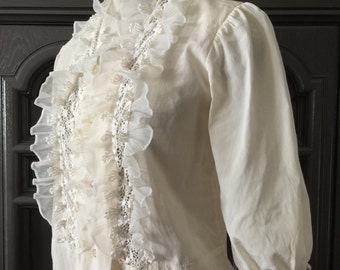 40s 50s Ruffled Rayon Blouse
